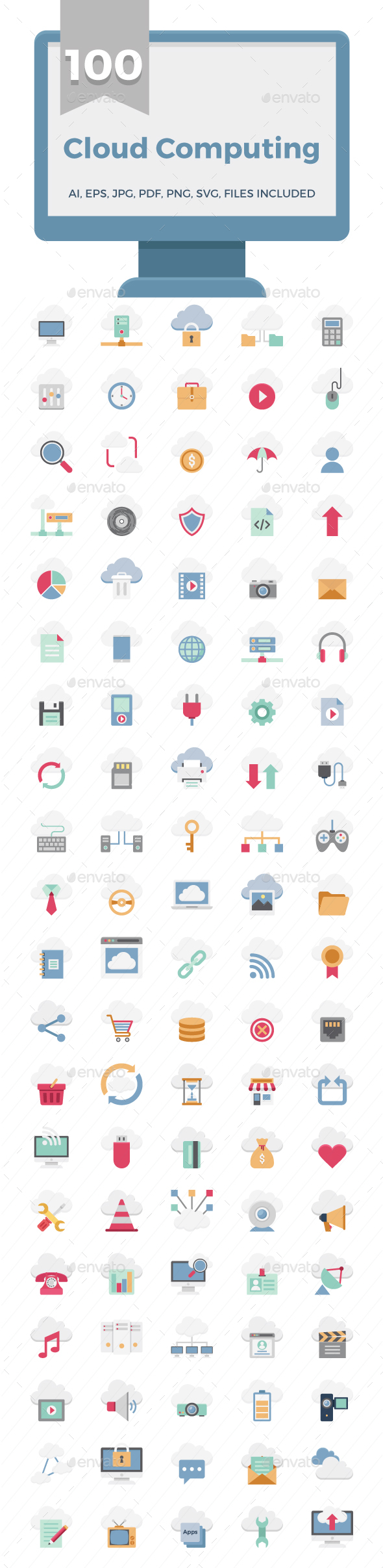 100 Cloud Computing Technology Color Vector Icons Set - Icons