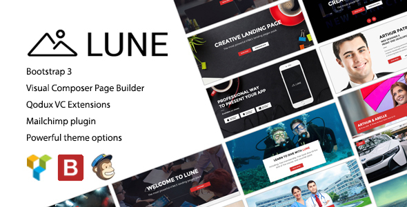 Lune - Landing Pages Pack Bootstrap WordPress Theme