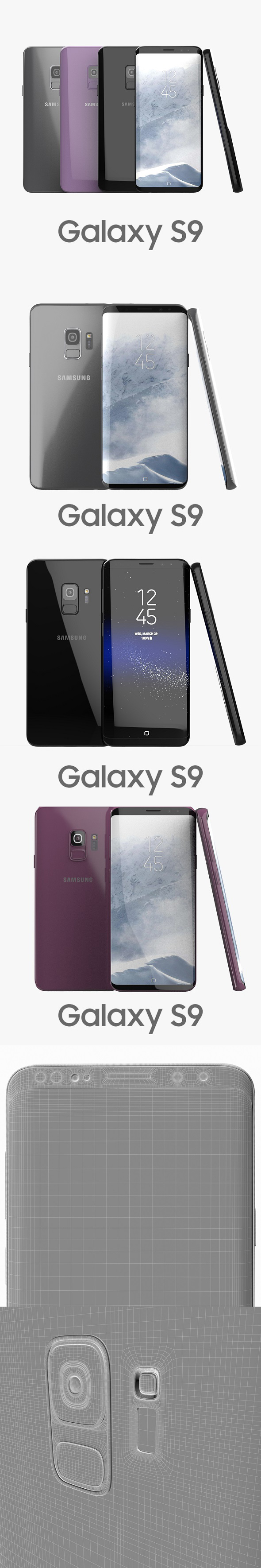 Samsung Galaxy S9 All Colors - 3DOcean Item for Sale