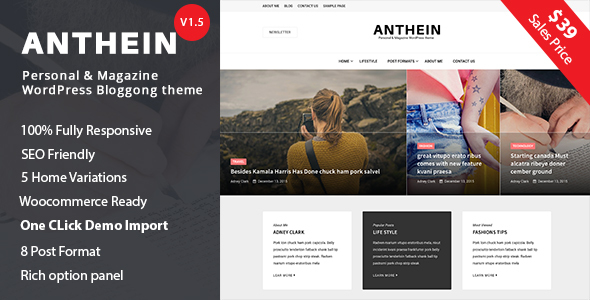 Anthein - WordPress Blog Theme - Personal Blog / Magazine