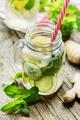 Lemon and cucumber drink in retro jars - PhotoDune Item for Sale