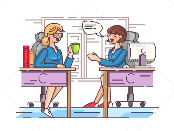 Girls Office Workers Communicate in Workplace - People Characters