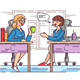 Girls Office Workers Communicate in Workplace - GraphicRiver Item for Sale