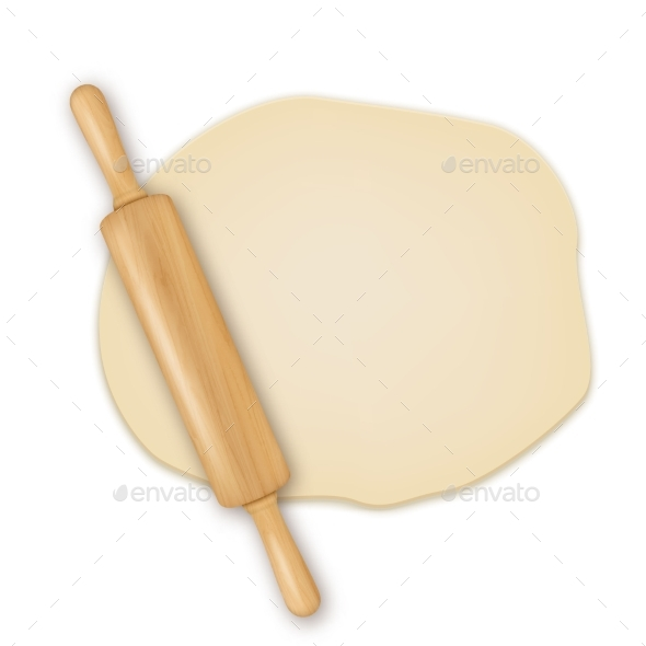 Vector Realistic 3D Wooden Rolling Pin on Roll Out - Man-made Objects Objects