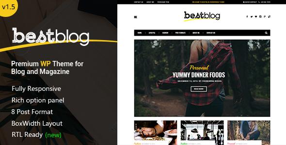 BestBlog - Responsive WordPress Blog Theme - Blog / Magazine WordPress