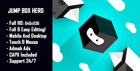 Jump Box Hero - HTML5 Game + Mobile Version! (Construct 2 / Construct 3 / CAPX) - CodeCanyon Item for Sale
