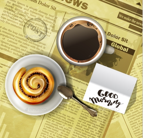 Coffee Cup on a Newspaper - Miscellaneous Vectors