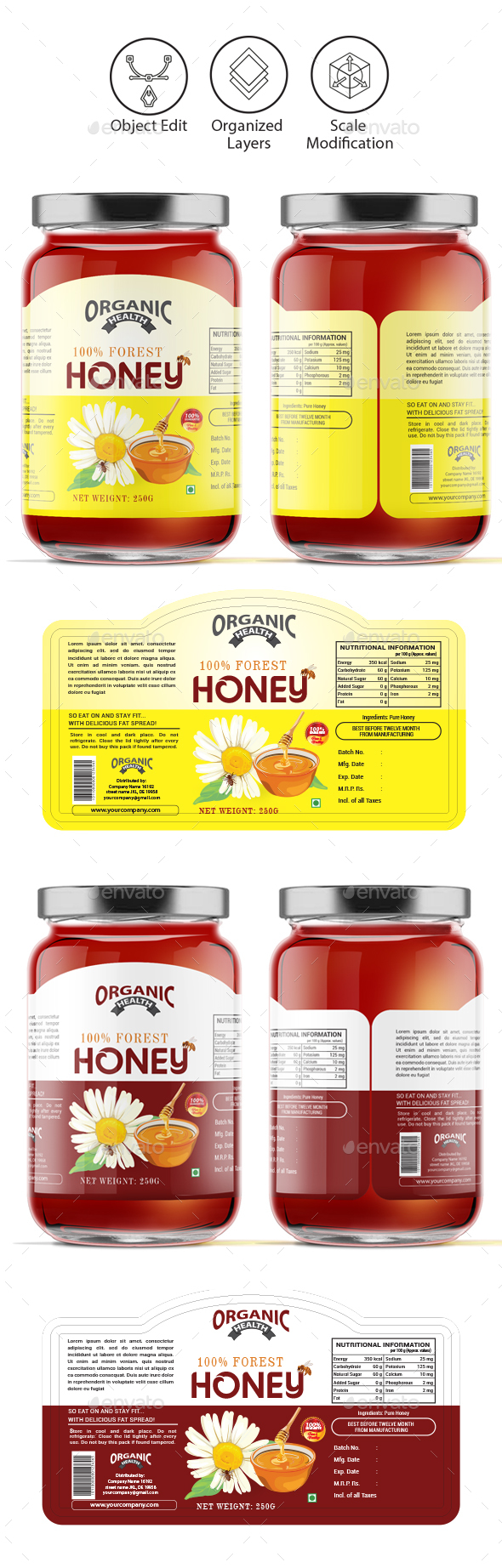 Honey Label Template Vol-1 - Packaging Print Templates