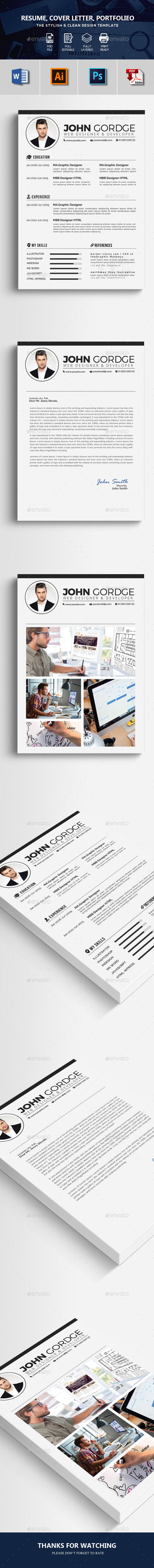 3 Pages Resume CV Template - Resumes Stationery