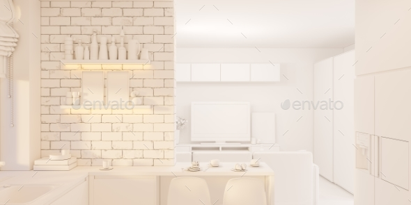 3d Illustration Kitchen Interior Design in White - 3D Renders Graphics