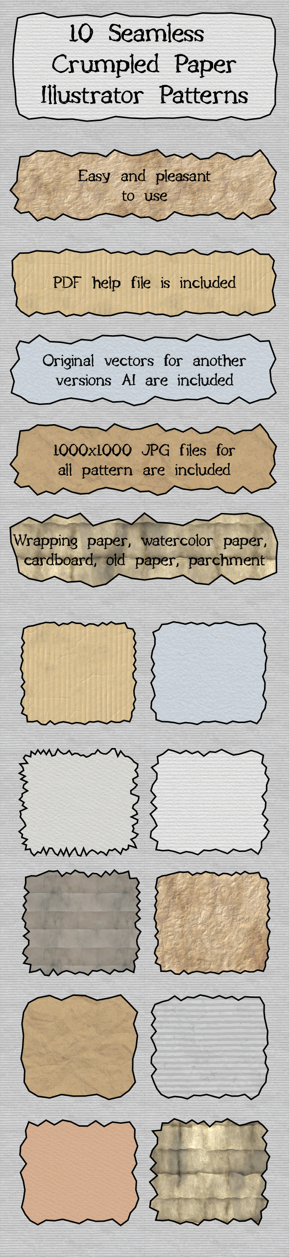 10 Crumpled Shabby Paper and Cardboard Seamless Adobe Illustrator Patterns - Miscellaneous Textures / Fills / Patterns
