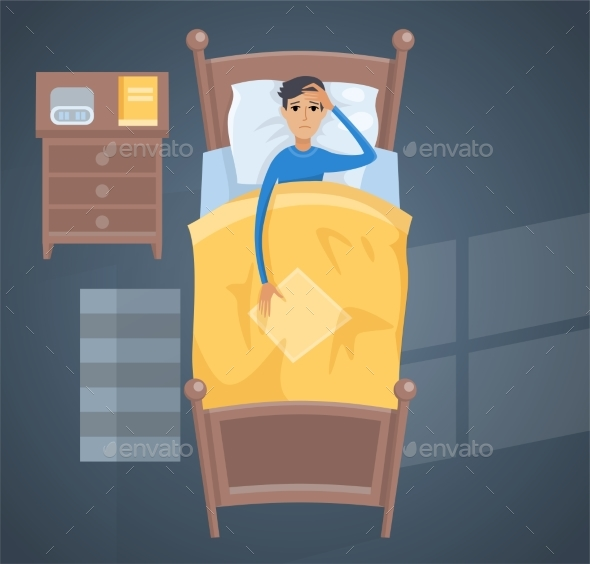 Sleeping Young Man in Bed Vector Illustration - People Characters