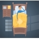 Sleeping Young Man in Bed Vector Illustration
