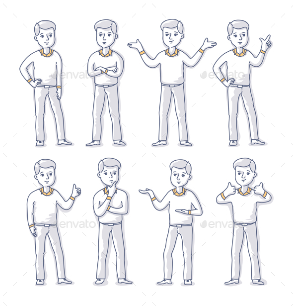 Young Man Stands in Different Poses - People Characters