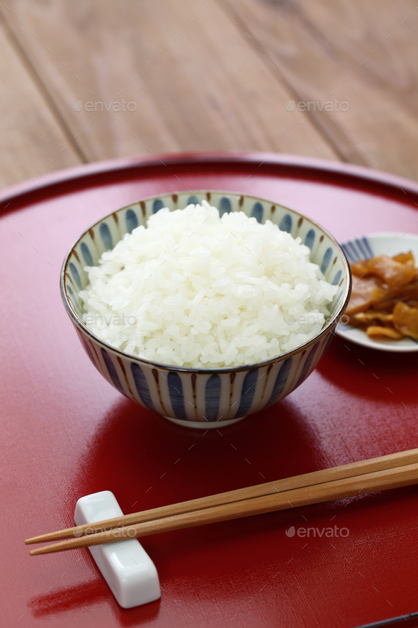 gohan, japanese cooked white rice - Stock Photo - Images