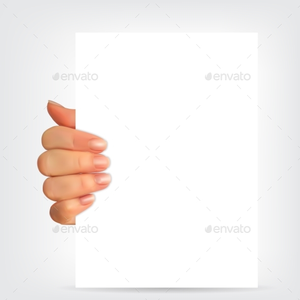 Realistic 3D Silhouette of Hand with White Paper - Miscellaneous Vectors