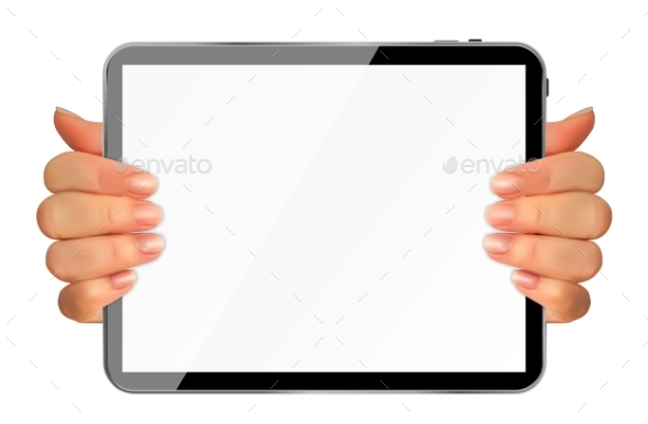 Realistic 3D Silhouette of Hand with Tablet - Miscellaneous Vectors