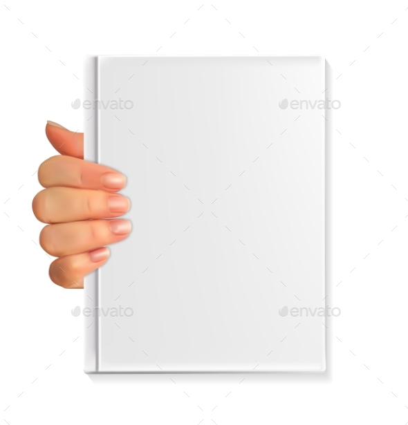Realistic 3D Silhouette of Hand with Blank Book - Miscellaneous Vectors