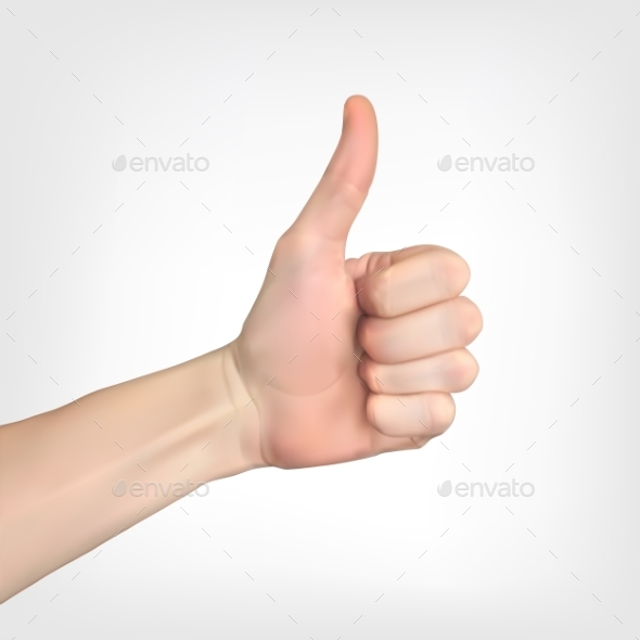 Realistic 3D Silhouette of Hand with Raised Thumb - Miscellaneous Vectors