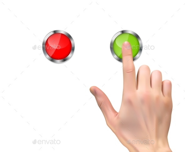 Realistic 3D Silhouette of Hand Pressing Button - Miscellaneous Vectors