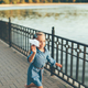 Girl playing, running with toy paper airplane - PhotoDune Item for Sale