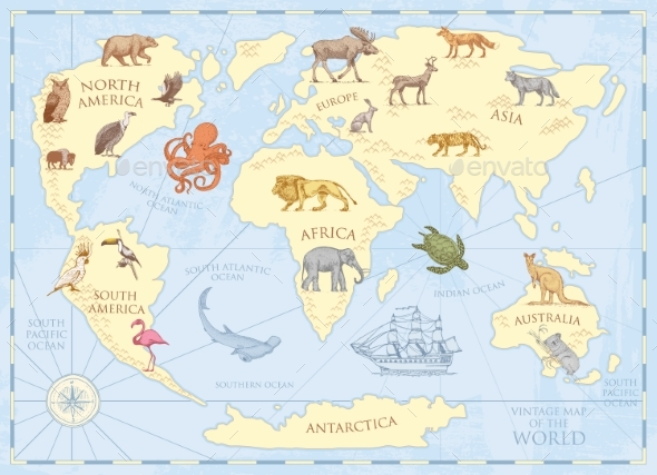 Vintage World Map with Wild Animals and Mountains - Animals Characters