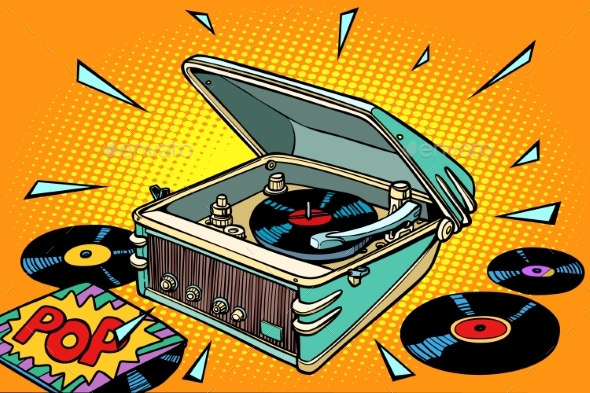 Vinyl Records and Gramophone - Miscellaneous Vectors