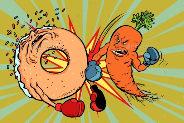 Carrots Beats a Donut - Food Objects