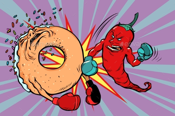 Red Pepper Beats a Donut - Food Objects