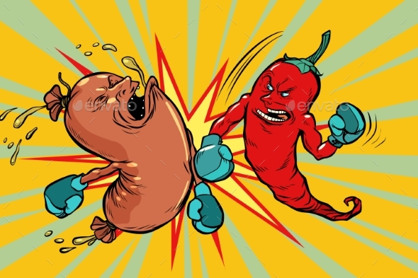 Red Pepper Beats a Sausage - Food Objects
