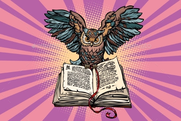 Owl on an Old Book a Symbol of Wisdom - Animals Characters