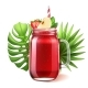 Vector Realistic Smoothie Glass Jar Watermelon