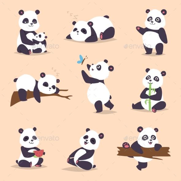 Panda Cartoon Character in Various Expression - Animals Characters