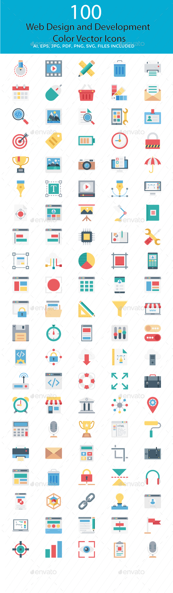 100 Web Design and Development Vector Icons - Icons