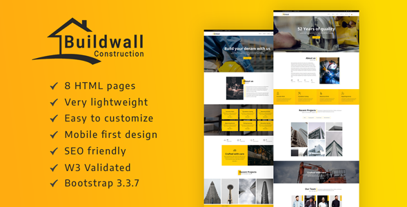 Image of BUILDWALL – A Lightweight & Modern Construction Template