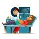 Vector Cartoon Ultrasound Pregnancy Screen