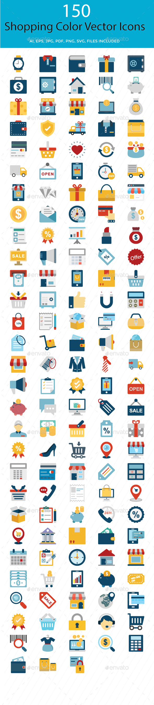 Shopping and E Commerce Color Vector Icons Set - Icons