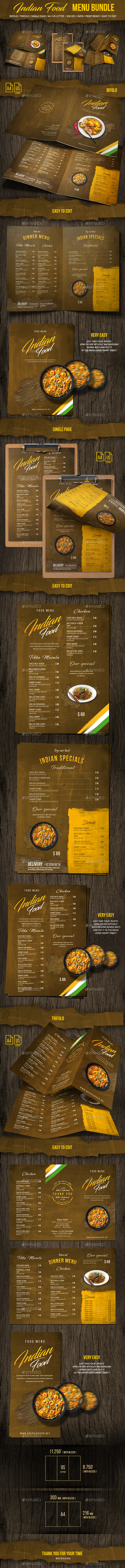 Indian Food Menu Bundle - A4 & US Letter Formats - Food Menus Print Templates