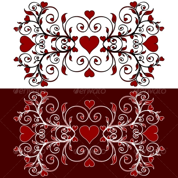 ornament with the hearts - Decorative Vectors