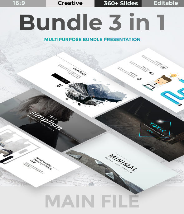 Bundle 3 in 1 - Creative n Minimal Keynote Template - Creative Keynote Templates