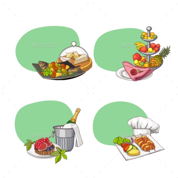 Hand Drawn Restaurant or Room Service Elements - Food Objects