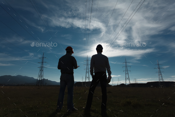engineer meeting at power station - Stock Photo - Images