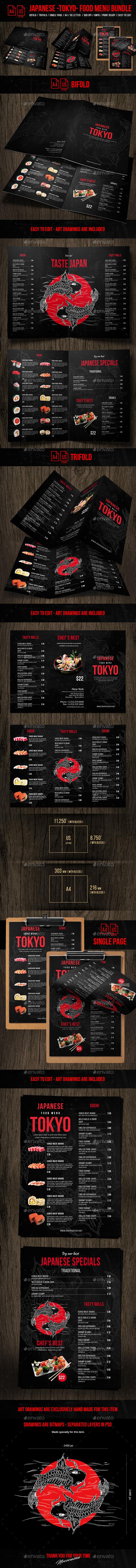 Japanese Tokyo Food Menu Bundle - A4 & US Letter Formats - Food Menus Print Templates