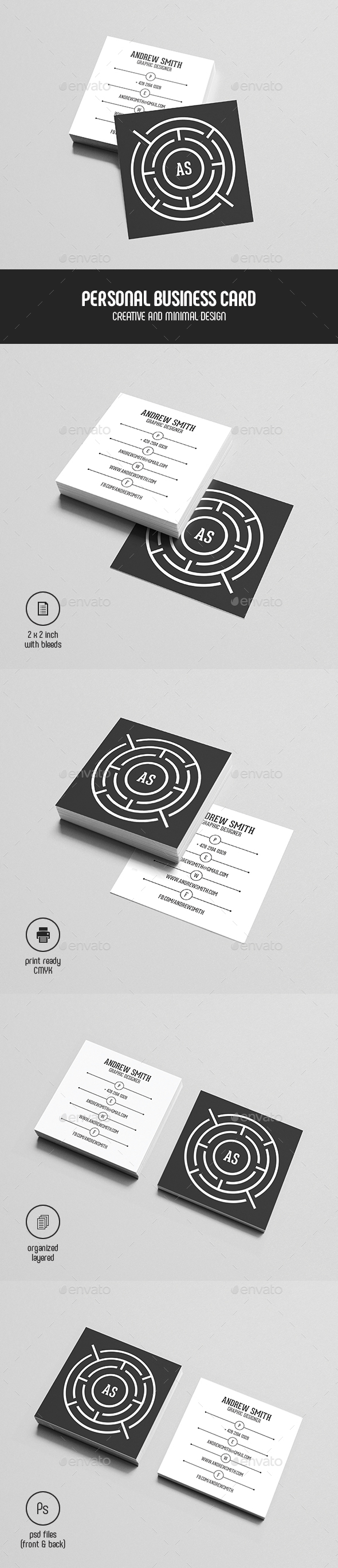 Square Personal Business Card - Creative Business Cards