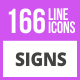 166 Sign Line Icons - GraphicRiver Item for Sale