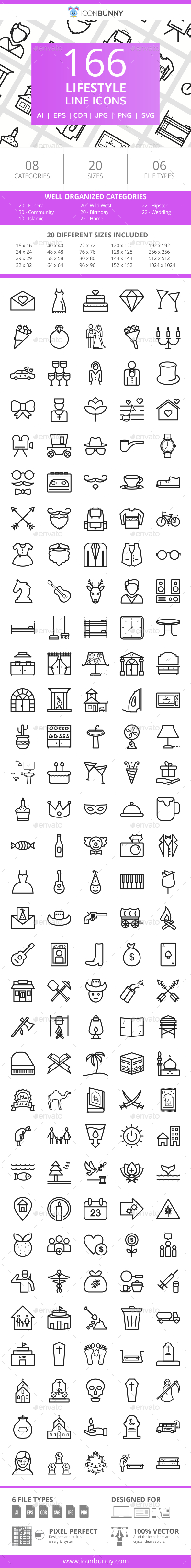 166 Lifestyle Line Icons - Icons