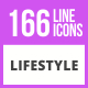 166 Lifestyle Line Icons - GraphicRiver Item for Sale