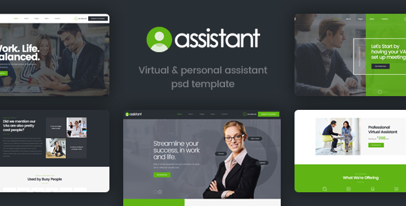 Assistant - Virtual and Personal Assistant Template - Corporate PSD Templates