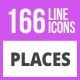 166 Places Line Icons - GraphicRiver Item for Sale