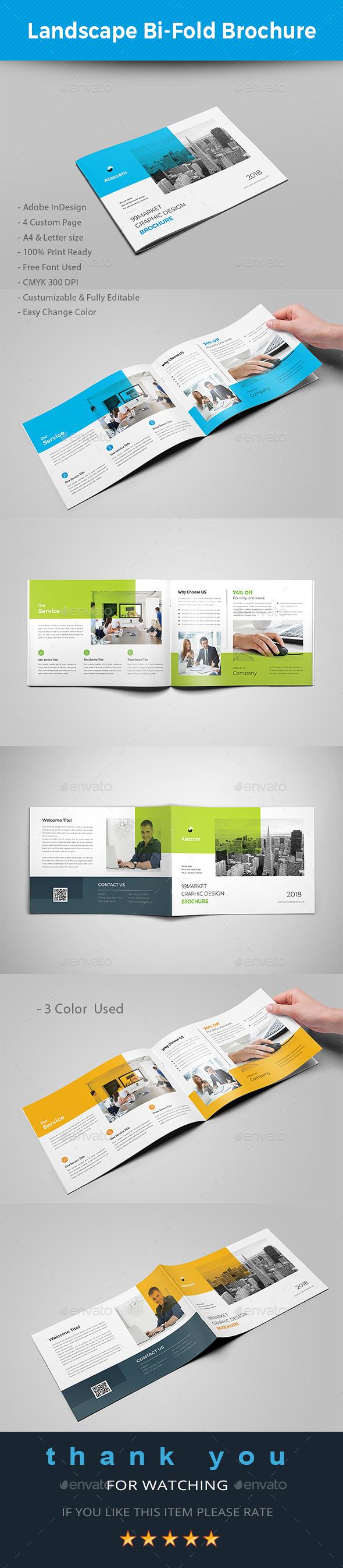 Landscape Bifold Brochure - Brochures Print Templates